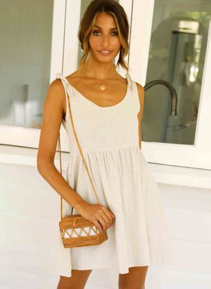 Solid Slip Camisole Neckline Above Knee A-line Dress
