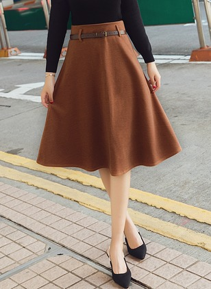 Wool Solid Mid-Calf Casual Zipper Skirts