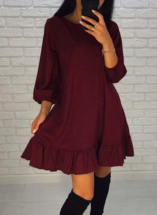 Solid Zipper Skater Half Sleeve A-line Dress