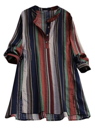 Plus Size Stripe Casual V-Neckline 3/4 Sleeves Blouses (4663070)