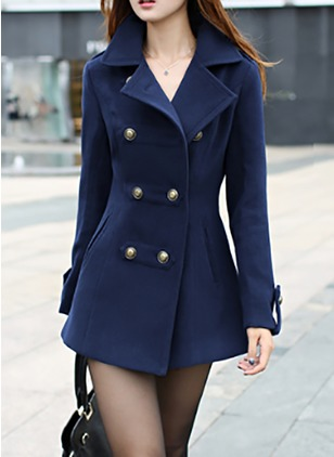 Wool & Wool Blend Long Sleeve Collar Coats