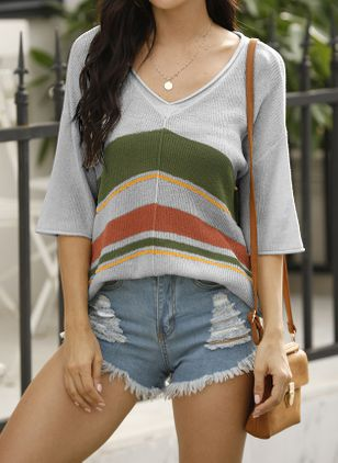 V-Neckline Stripe Elegant Loose Regular Shift Sweaters (107805681)