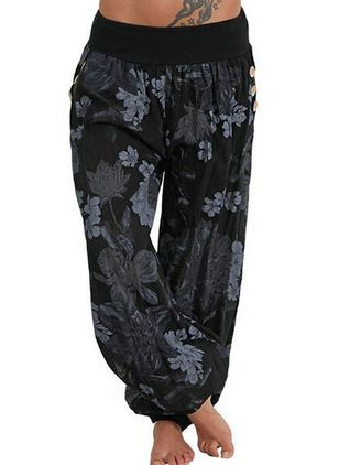 Casual Loose Buttons Mid Waist Polyester Pants (147183016)
