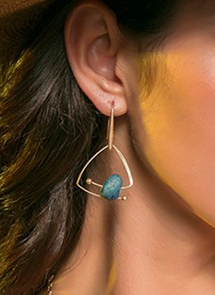 Casual Geometric Gemstone Dangle Earrings (4045763)
