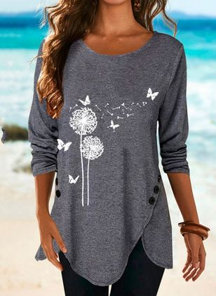Floral Round Neck Long Sleeve Casual T-shirts (146699708)