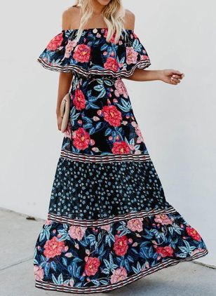 Floral Ruffles Half Sleeve Maxi X-line Dress