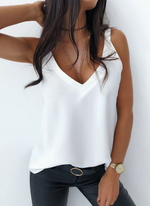 Solid Camisole Neckline Sleeveless Casual T-shirts (147077036)