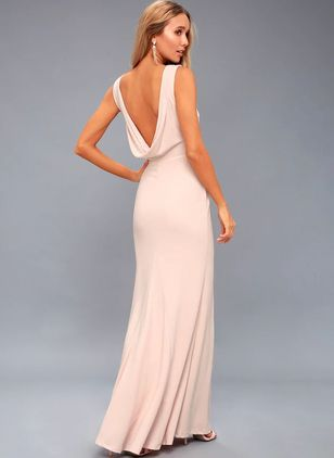 Solid Pencil Camisole Neckline Maxi Sheath Dress