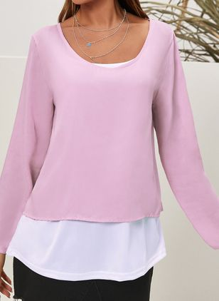 Plus Size Solid Casual V-Neckline Long Sleeve Blouses (122028947)