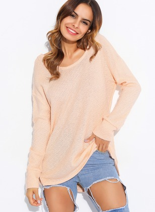 V-Neckline Solid Loose None Sweaters