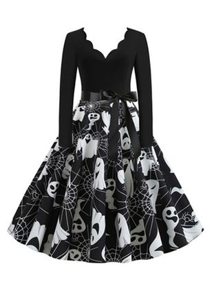 Halloween Color Block V-Neckline Midi X-line Dress (109973577)