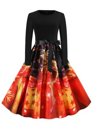 Christmas Color Block Round Neckline Midi X-line Dress (128227806)