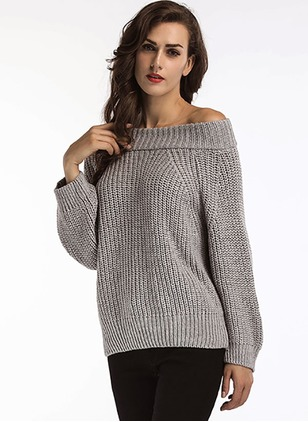 Cotton Strapless Neckline Solid Casual Long Sweaters