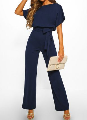 Casual Loose High Waist Cotton Jumpsuits (146904597)