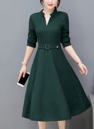 Solid Buttons Long Sleeve Midi A-line Dress