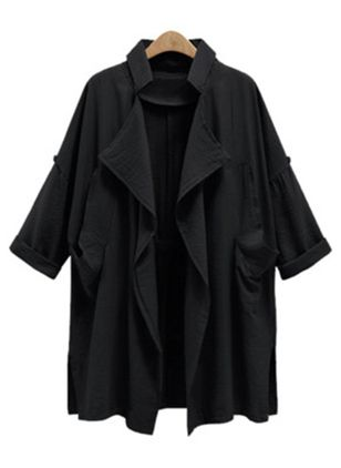 Long Sleeve Lapel Pockets Trench Coats (107561965)