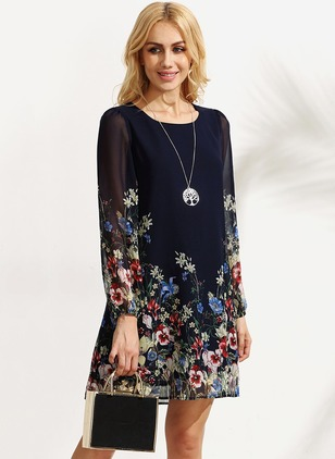 Floral Tshirt Long Sleeve Shift Dress