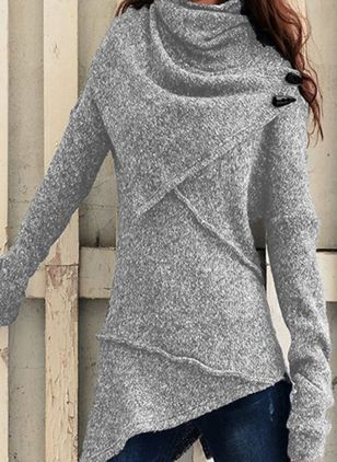 High Neckline Solid Casual Loose Regular A-line Sweaters (105810005)
