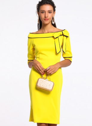 Polyester Color Block Half Sleeve Knee-Length Dresses