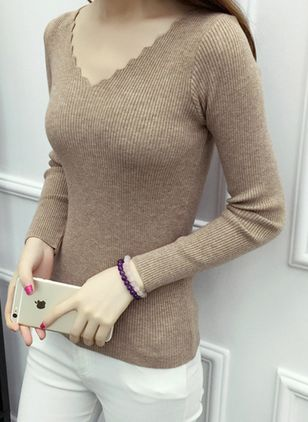 V-Neckline Solid Tight Regular Sweaters