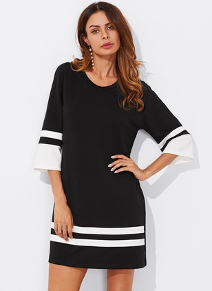 Cotton Stripe 3/4 Sleeves Above Knee Dresses