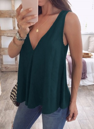 Solid Casual Chiffon V-Neckline Sleeveless Blouses