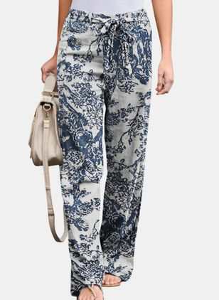 Casual Loose Pattern Mid Waist Cotton Blends Pants (147242507)