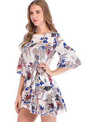 Floral Ruffles Wrap Half Sleeve Above Knee Dress