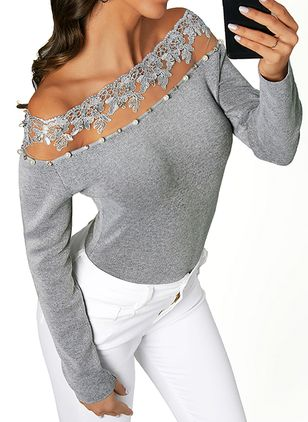 Boat Neckline Solid Casual Tight Appliques Sweaters (107251362)