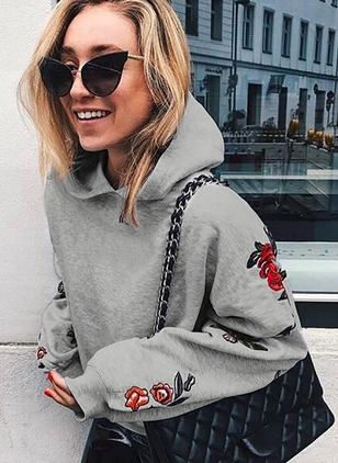 Floral Casual Cotton Hooded Appliques Sweatshirts