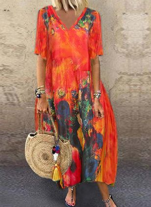 Boho Floral V-Neckline Short Sleeve Maxi Dress (104534439)