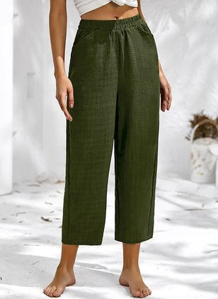 Casual Loose Pockets Mid Waist Polyester Pants (146932013)