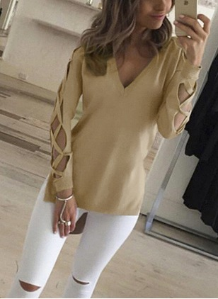 Cotton Solid V-Neckline Long Sleeve Casual T-shirts & Vests