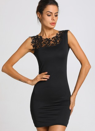 Solid Lace Pencil Cap Sleeve Bodycon Dress