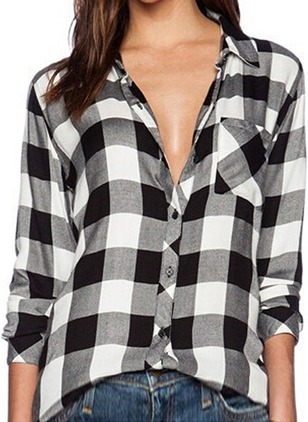 Tartan Casual Cotton Collar Long Sleeve Blouses
