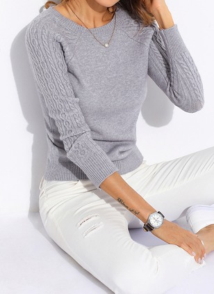 Cotton Round Neckline Solid Tight Others Sweaters
