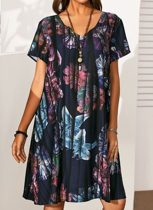 Plus Size Casual Floral Tunic V-Neckline A-line Dress (4864845)
