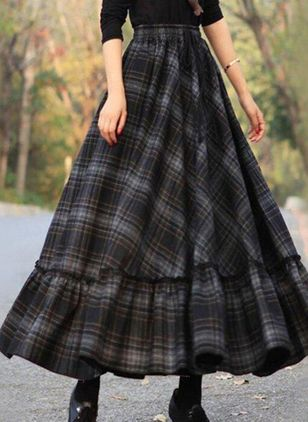 Check Maxi Casual Skirts (146679188)