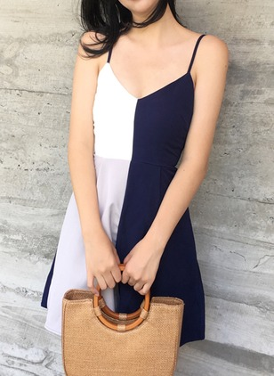 Color Block Slip Sleeveless Above Knee A-line Dress