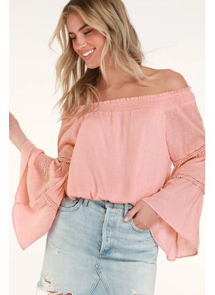 Solid Cute Off the Shoulder Long Sleeve Blouses