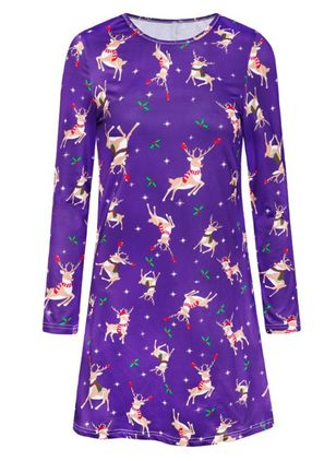 Christmas Animal Tunic Round Neckline Shift Dress (146718390)