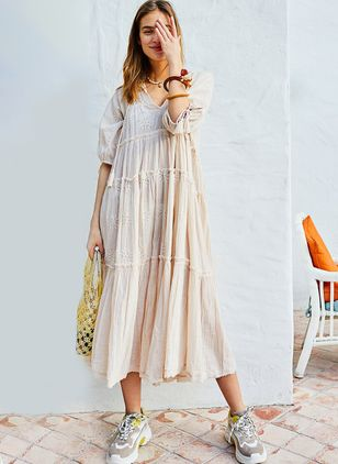 Solid Tassel Half Sleeve Midi A-line Dress