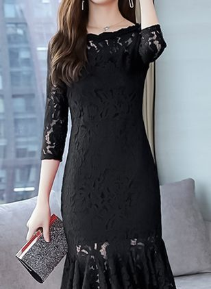 Solid Lace Pencil Knee-Length Bodycon Dress