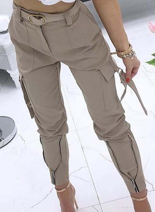 Casual Skinny Pockets High Waist Polyester Pants (120649087)