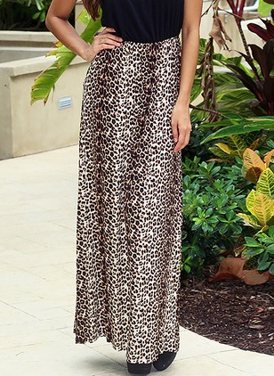 Polyester Leopard Maxi Casual Skirts