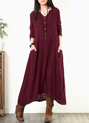 Cotton Solid Long Sleeve Midi Shift Dress