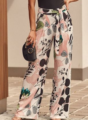 Casual Loose Pattern Mid Waist Polyester Pants (146909370)