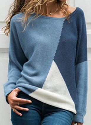 Round Neckline Color Block Casual Loose Regular Shift Sweaters (109974518)