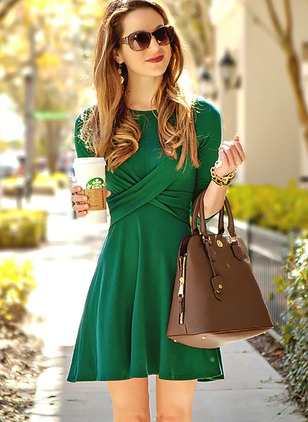 Solid Drop waist Long Sleeve A-line Dress