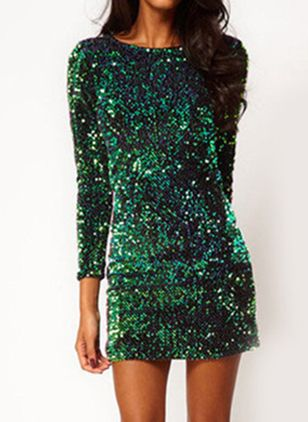 Solid Sequins Pencil Above Knee Sheath Dress